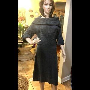 Grey Sweater below the knee Dress very warm Sz M!
